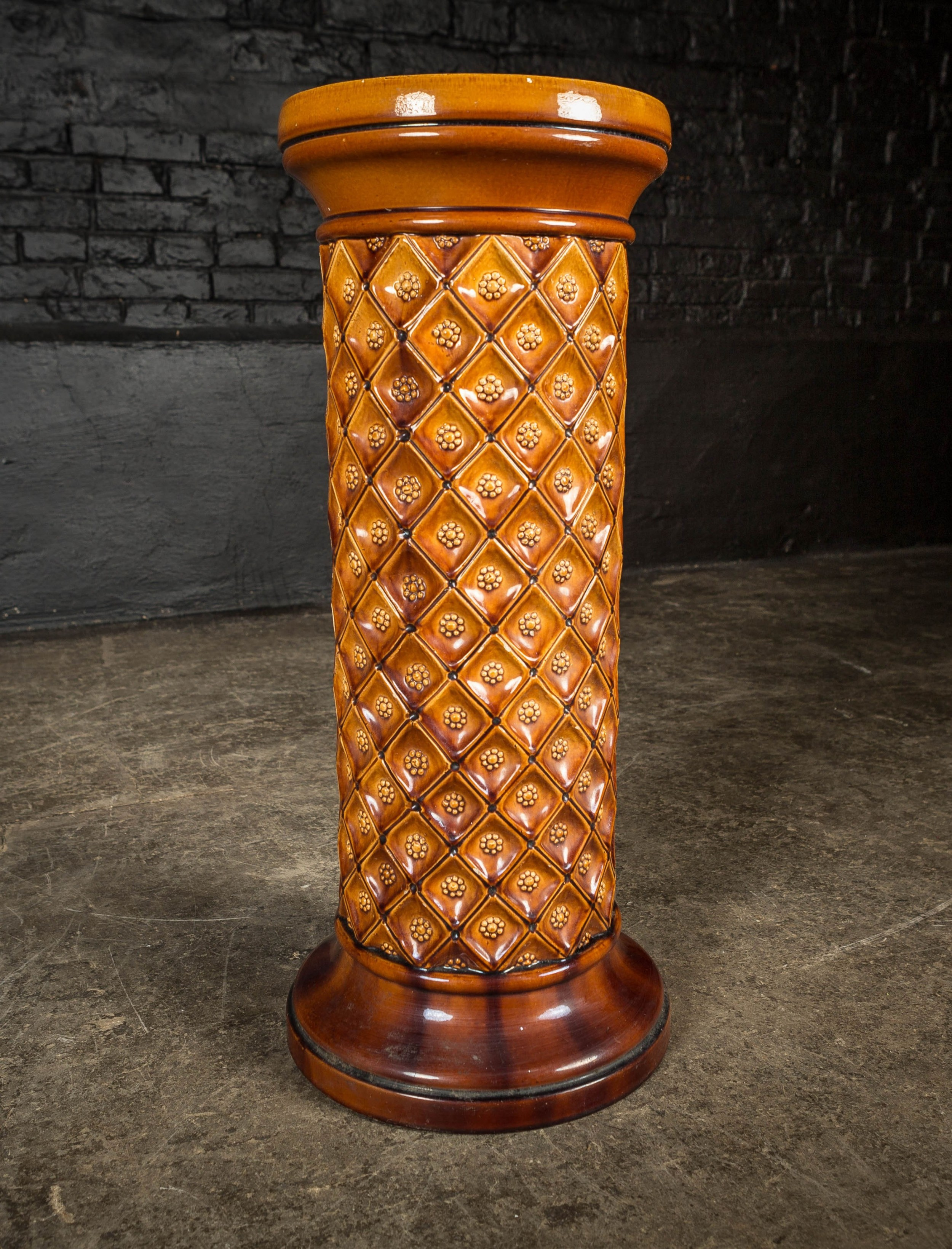 19th c brown glaze burmantofts jardinire stand