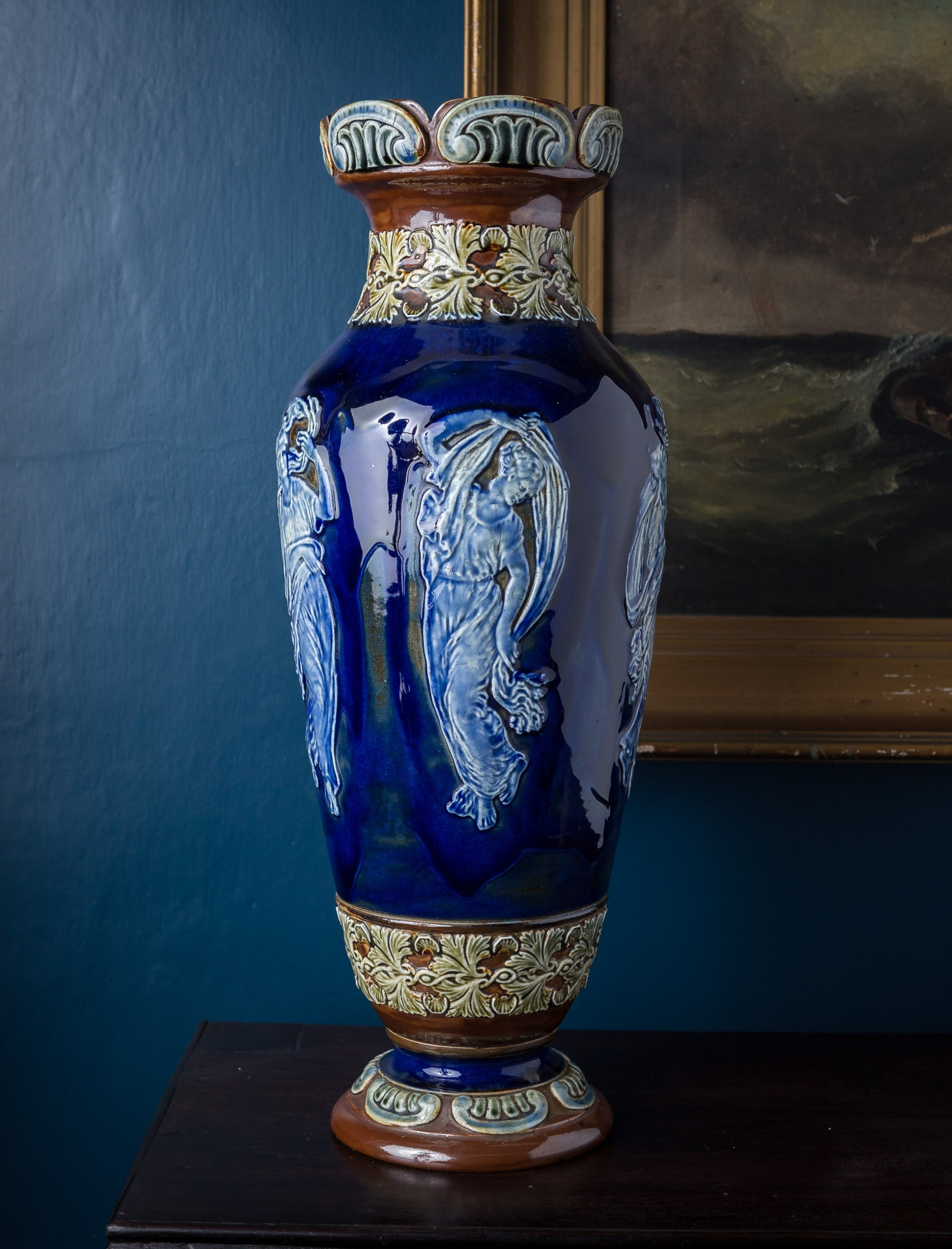 large 19th c blue doulton lambeth vase with figures