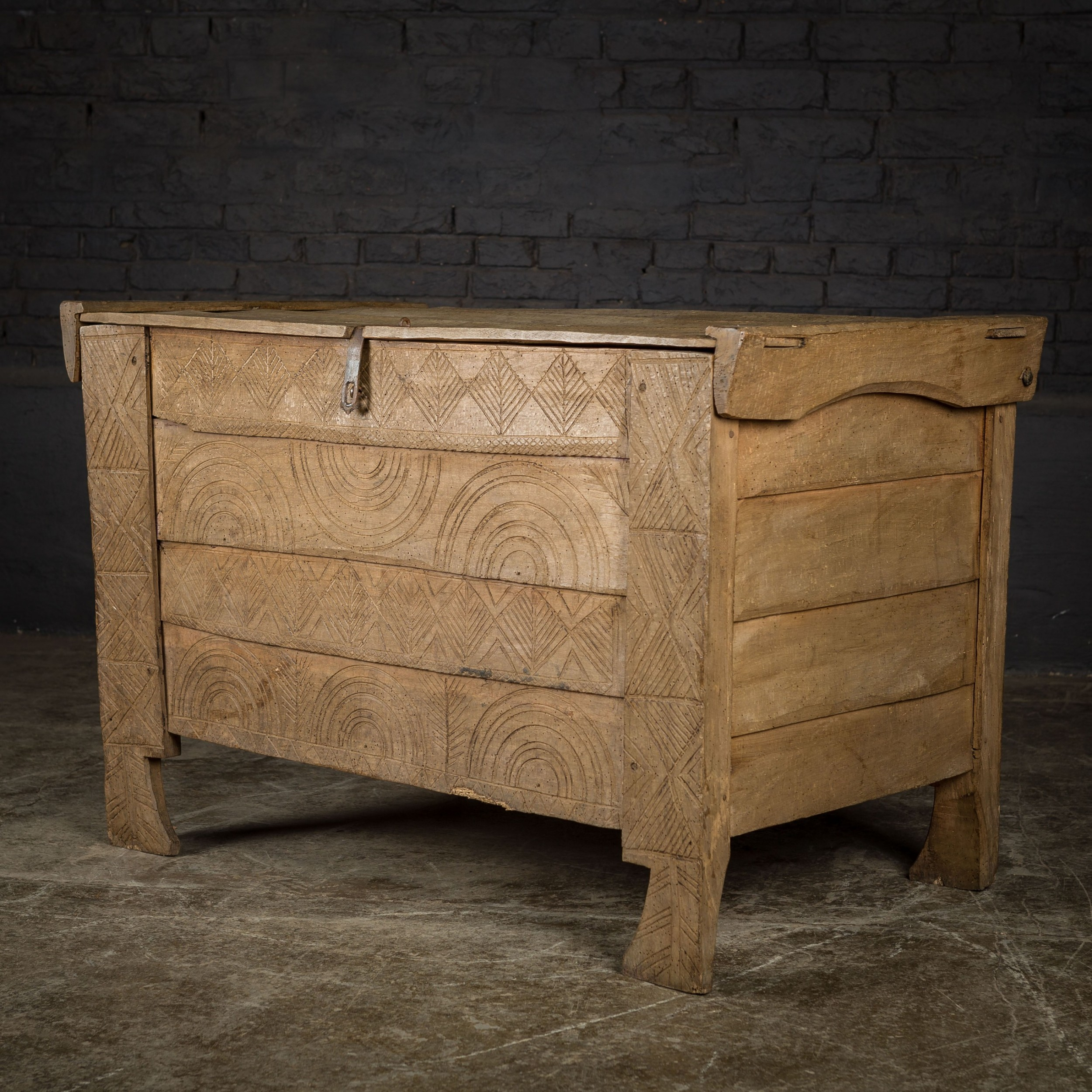 18th c beech chest with primitive carved detail
