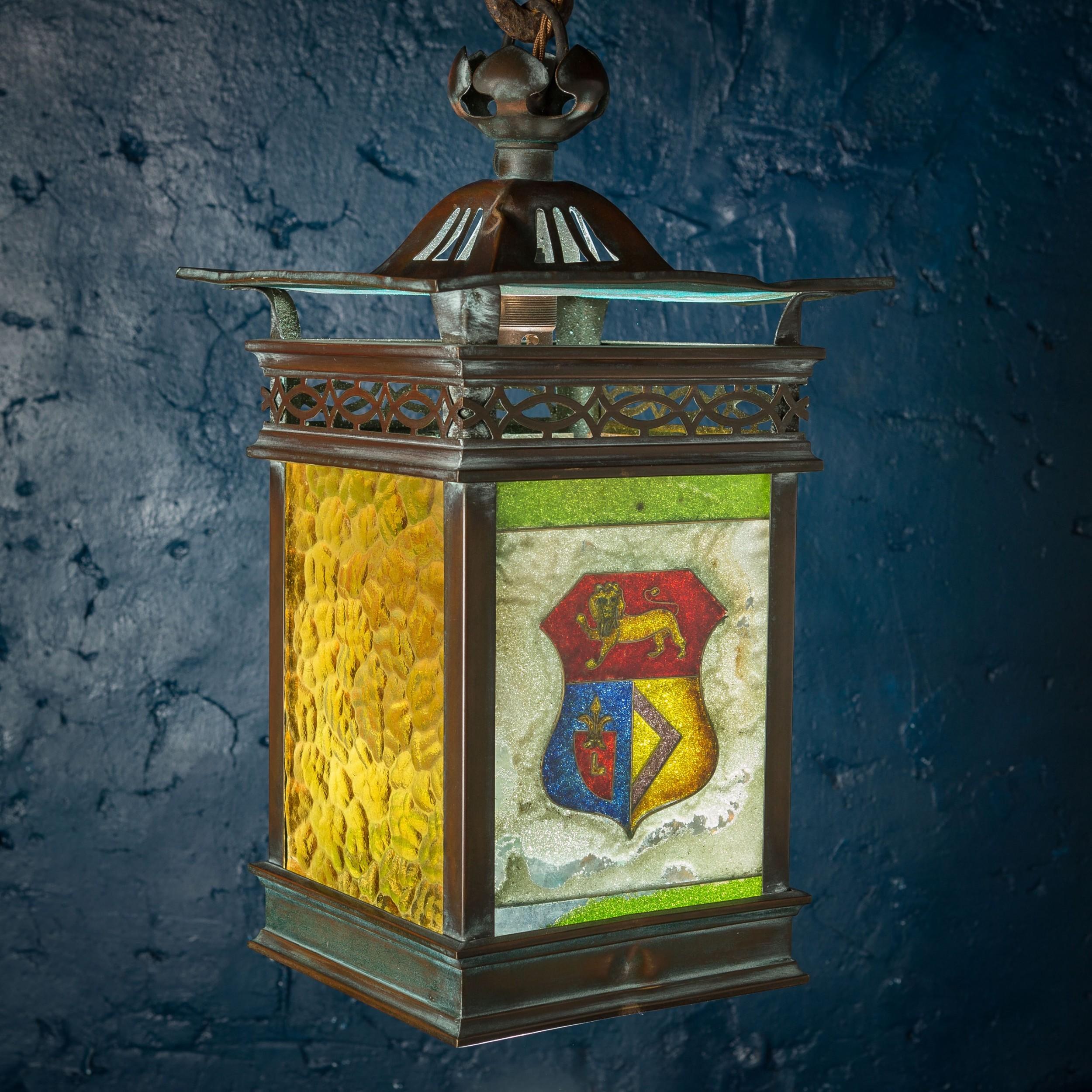 19th c arts crafts copper lantern with heraldic shield coloured glass