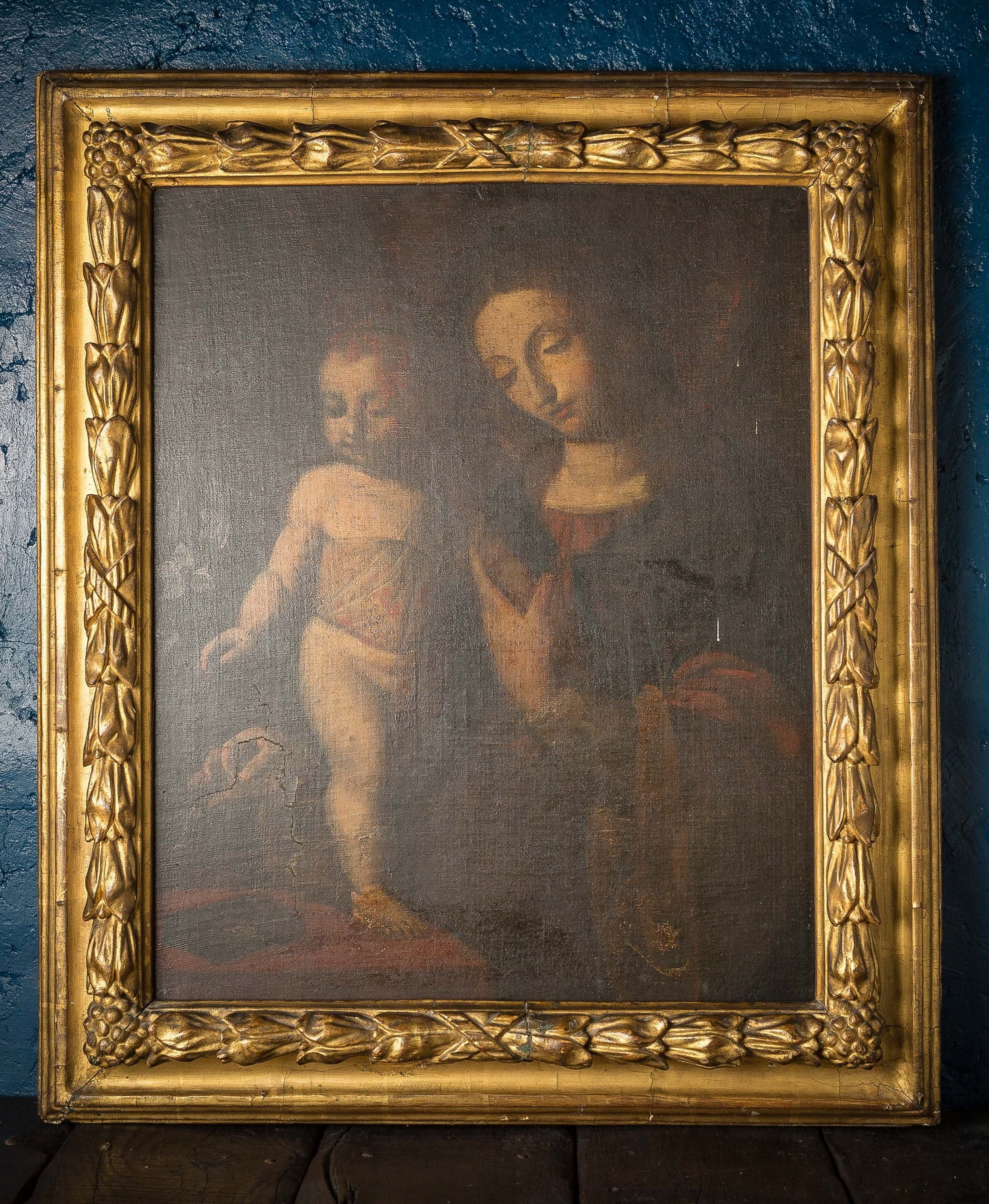 the madonna and child after bernardino luini 16th c oil on canvas in later 18th c frame