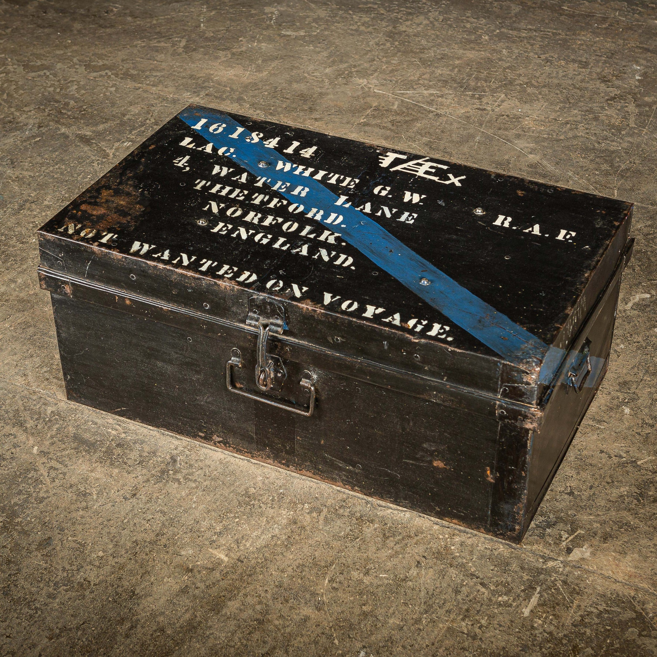 vintage raf black metal military travel trunk chest with carry handles and hasp and staple