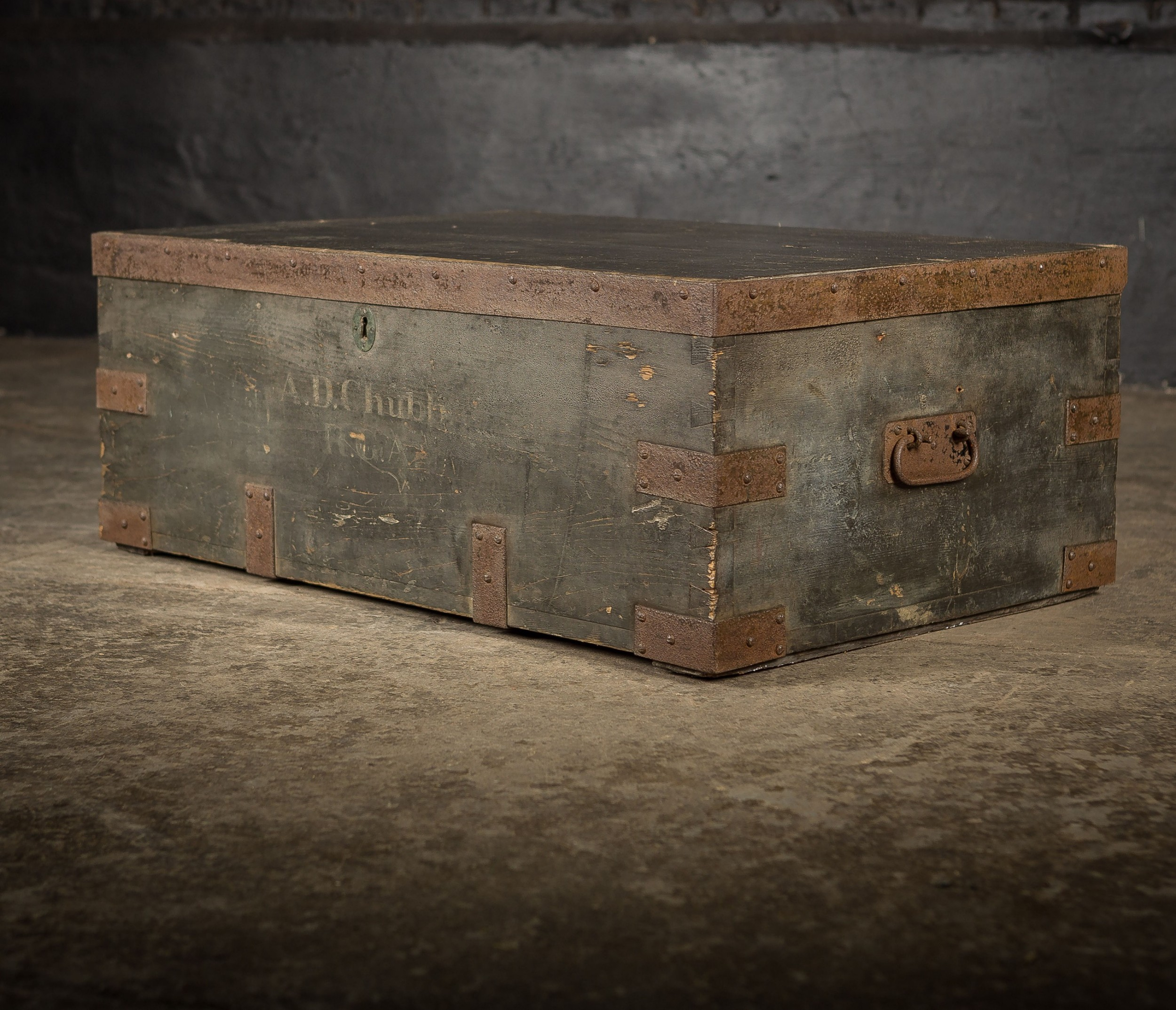 19th c royal regiment wooden truck chest with ad chubb rca monogram