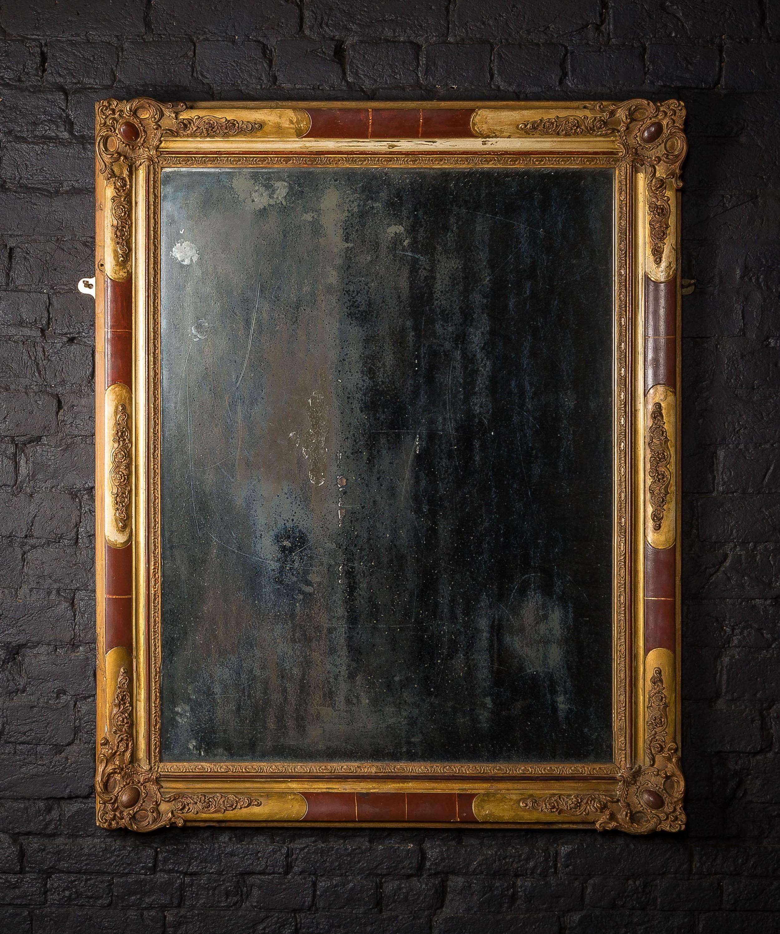 large 19th c mercury mirror with ornate gilt plaster frame