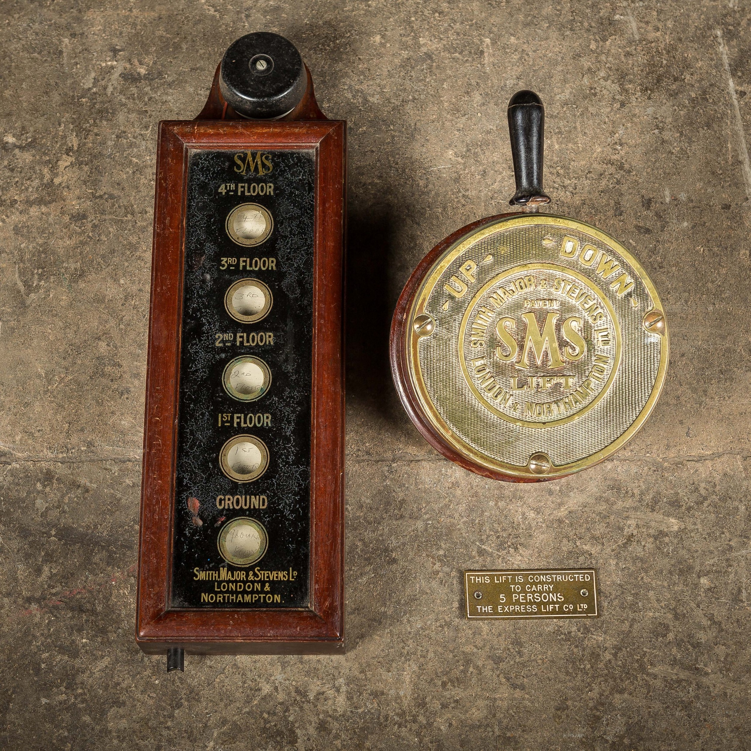 19th c brass elevator switch and floor indicator by smith major stevens ltd