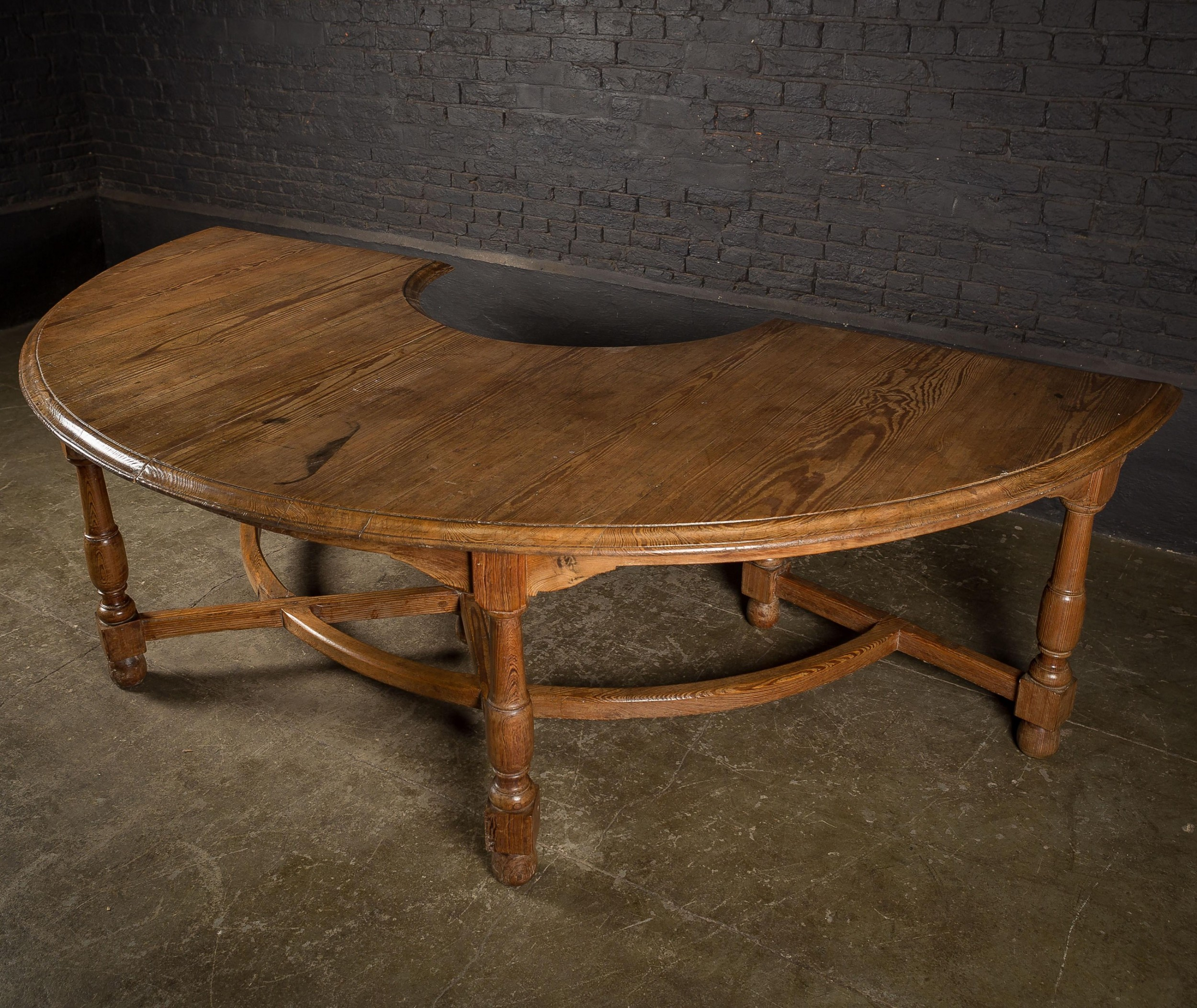19th c pitch pine dend table with turned legs and curved stretchers