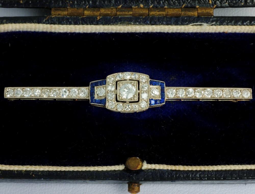 art deco platinum diamonds sapphires