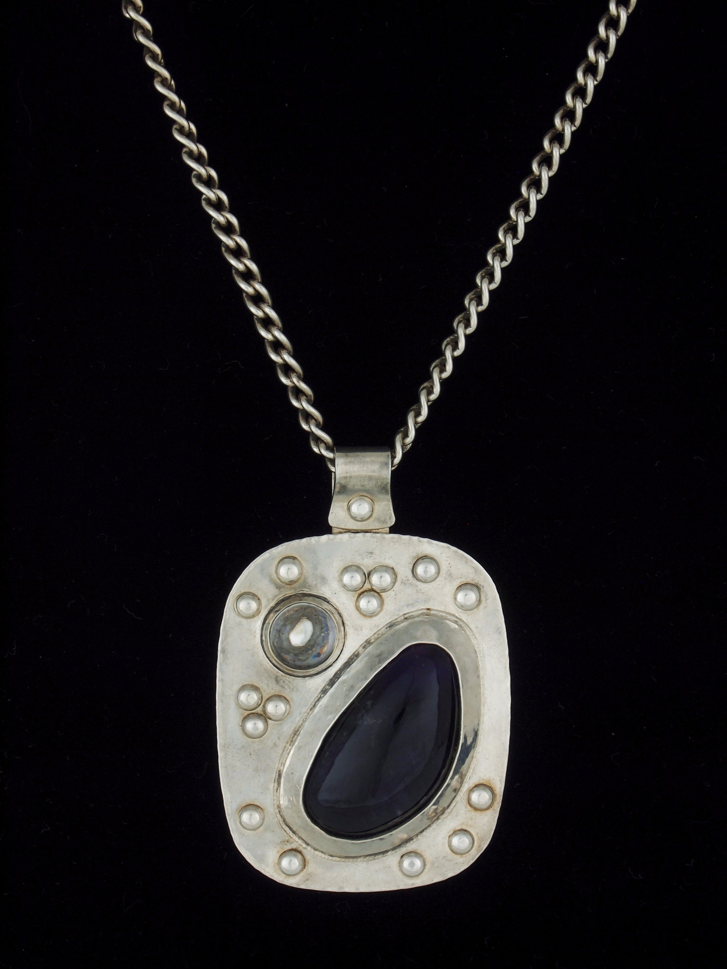 arts crafts silver and amethyst pendant