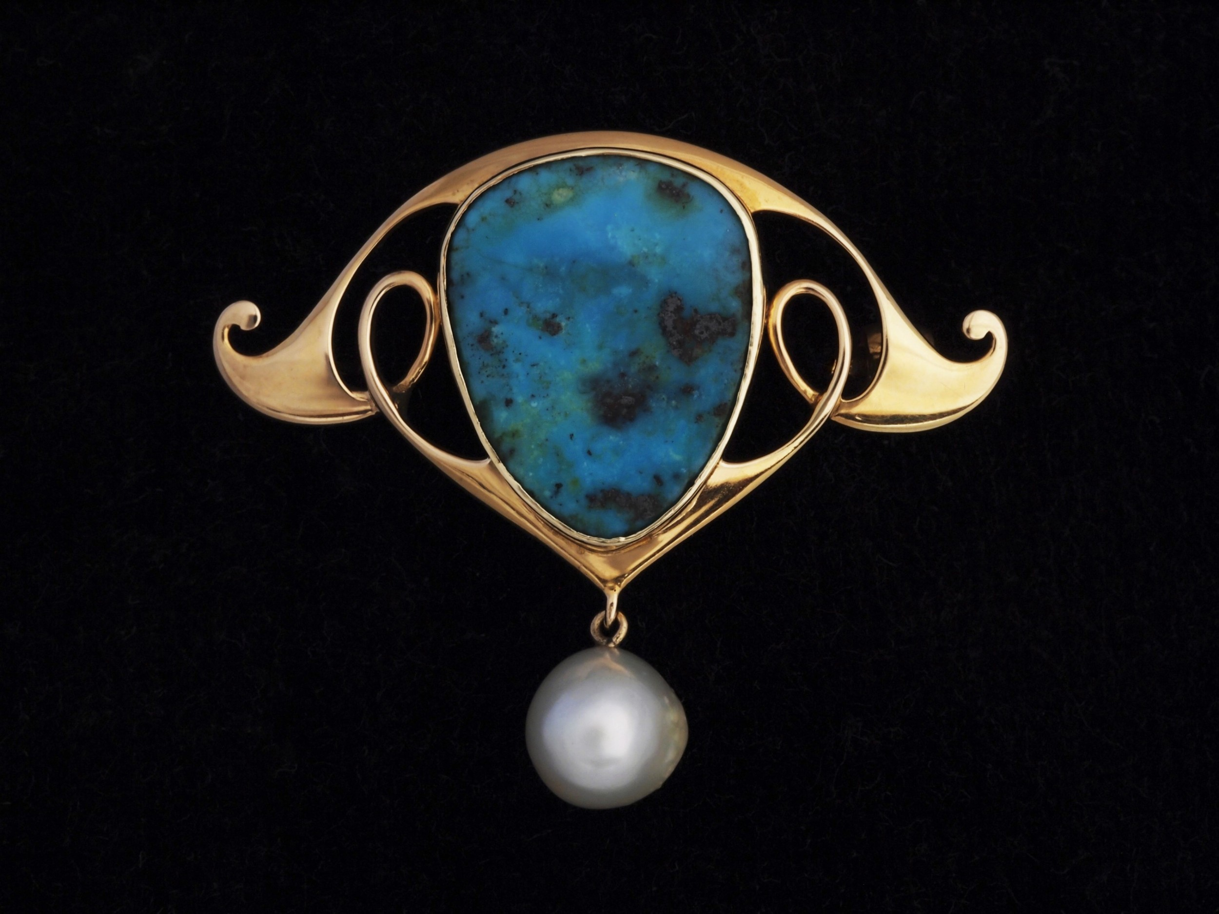 gold and turquoise brooch by murrle bennett
