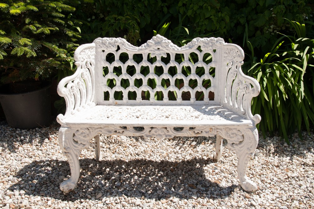 Antique Ornate Garden Cast Iron Bench 352587