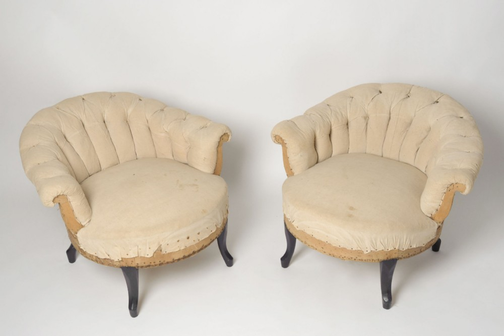 antique french pair of low back chairs