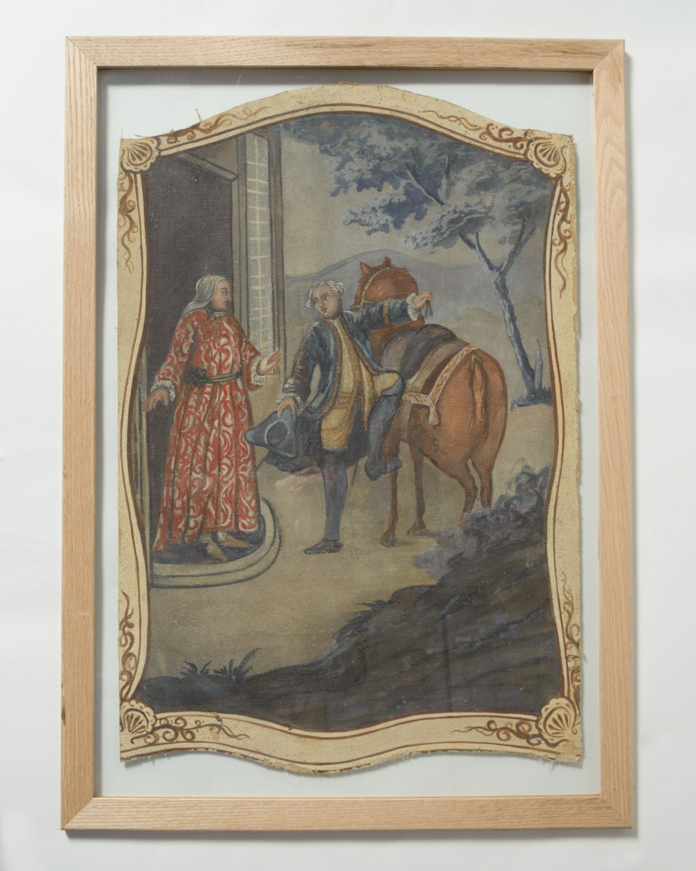 antique french hand painted canvas panel