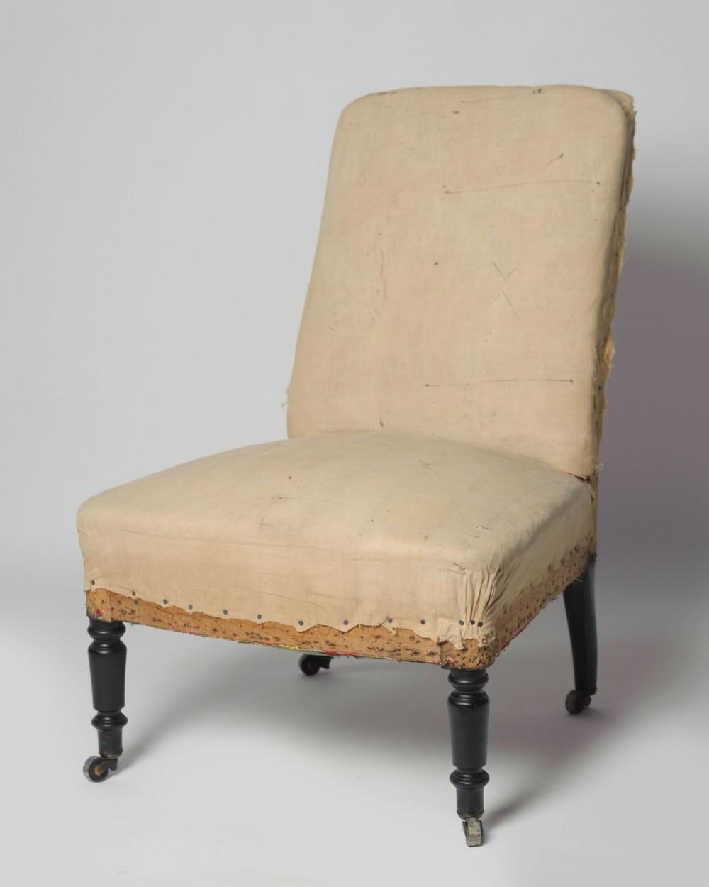 antique french napoleon iii slipper chair