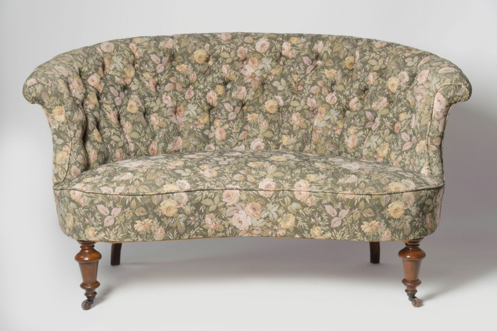 pretty shape antique sofa for upholstery