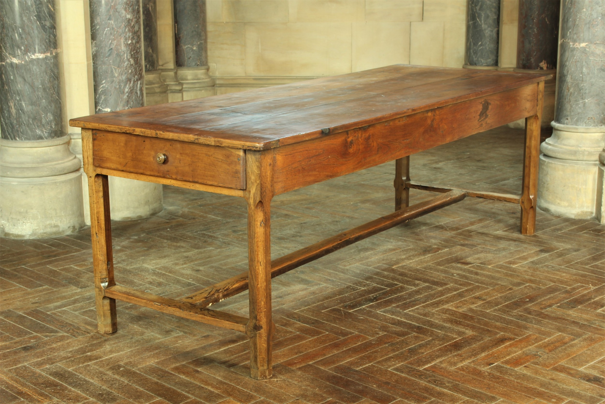 large 19th century french elm oak refectory table