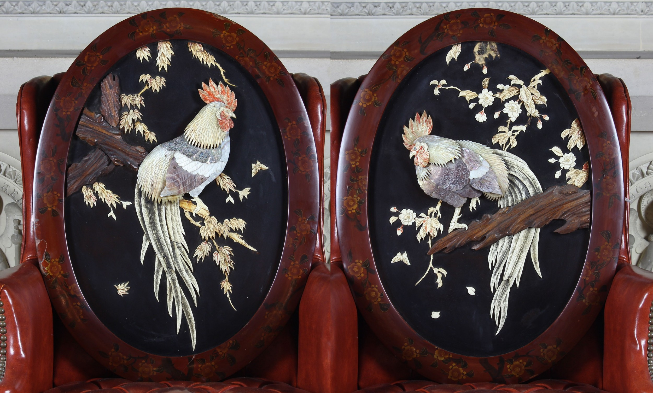 a pair of 19th century japanese mother of pearl wall plaques with lacquered frames