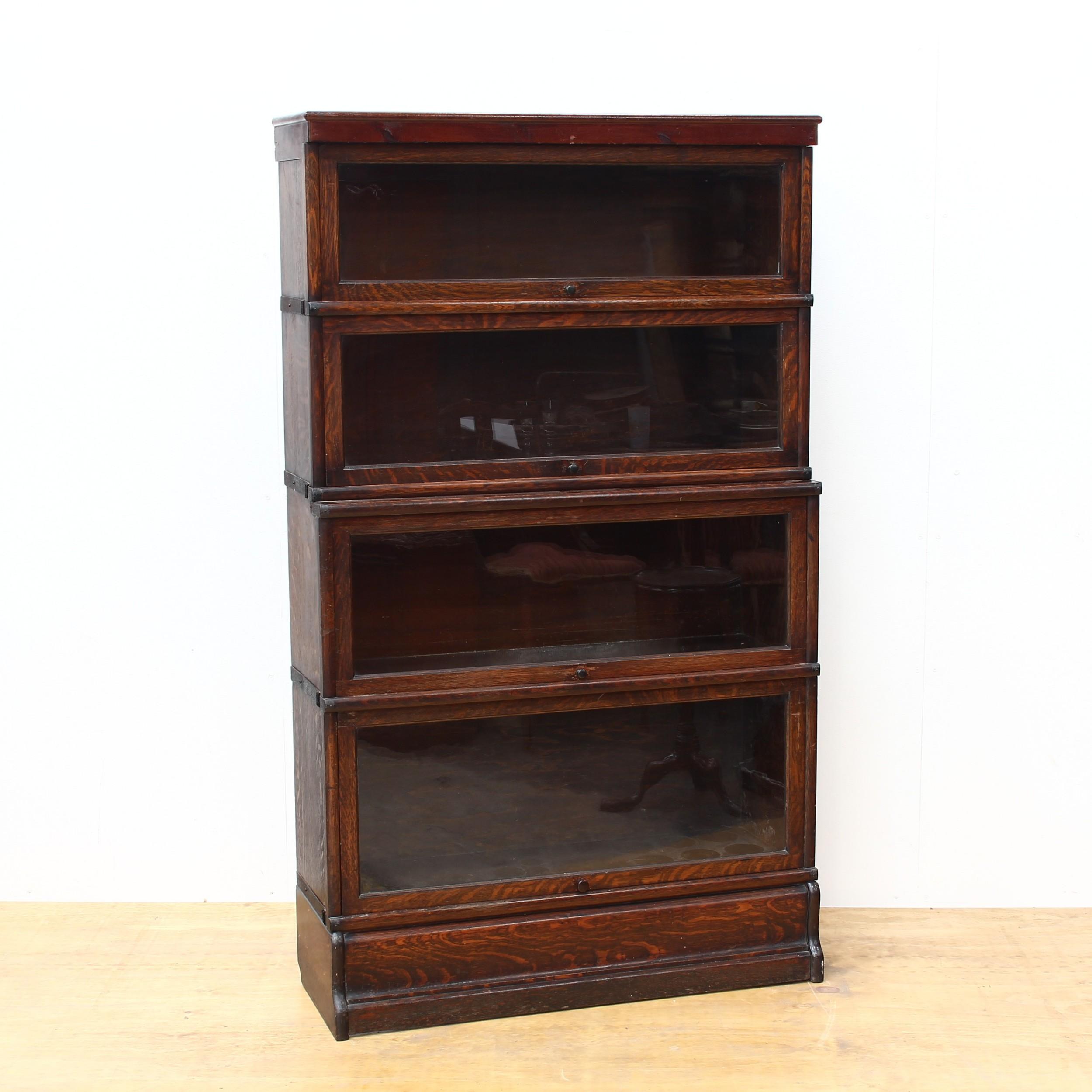 glazed 1930's oak stacking bookcase