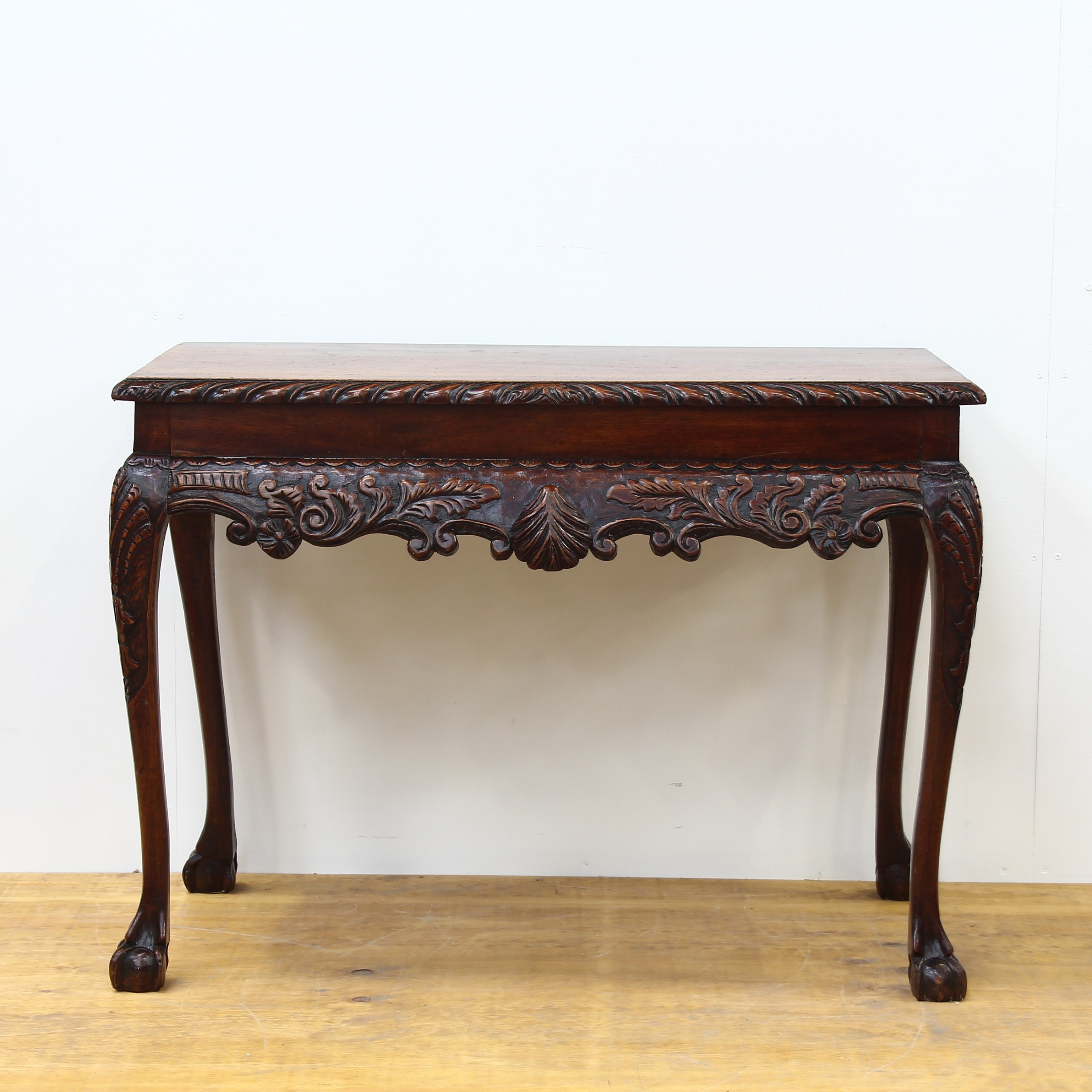 victorian mahogany carved side table with ball claw feet