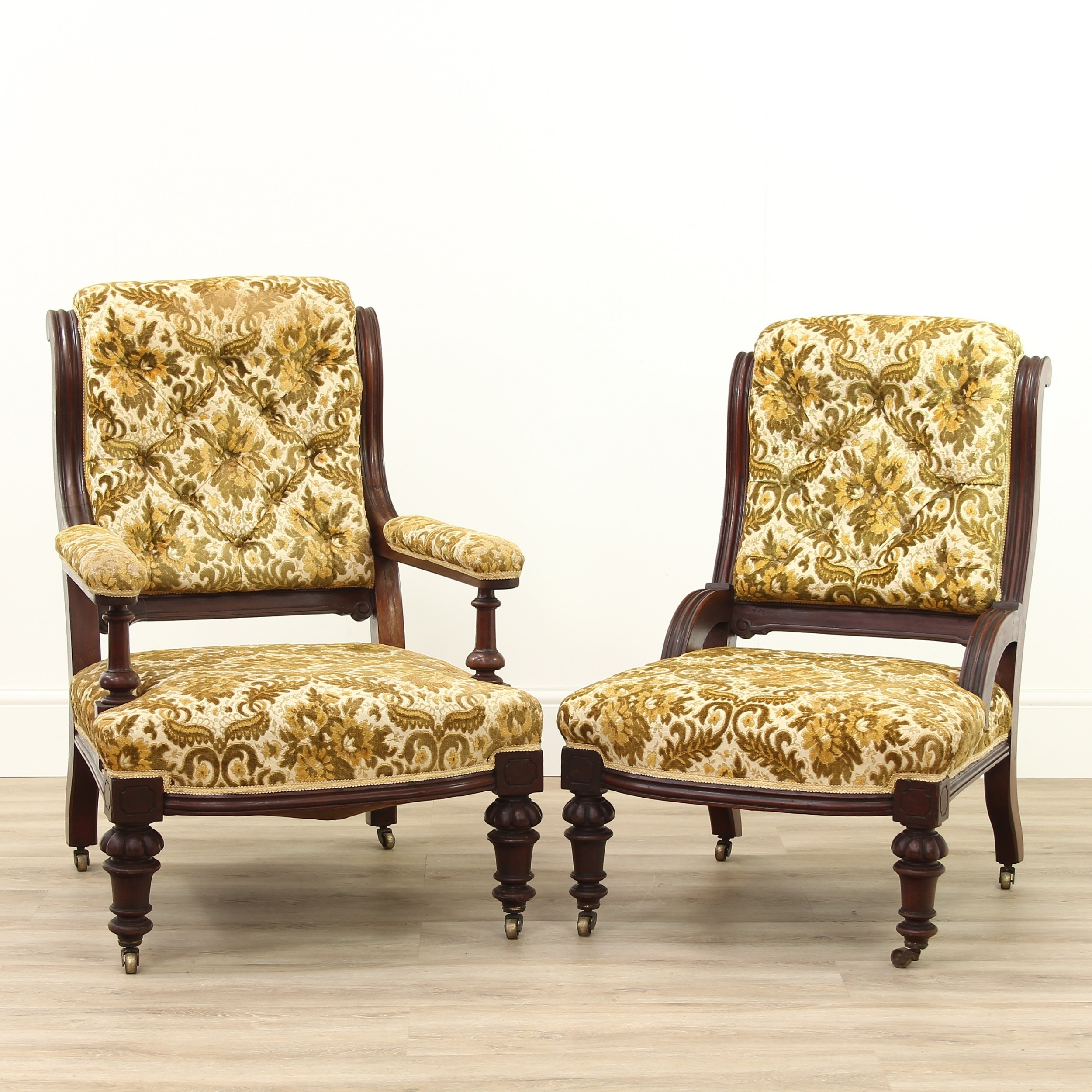 a pair of victorian gentleman's ladies upholstered chairs