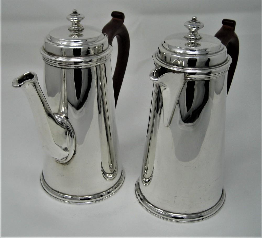 stunning pair of london silver coffeechocolate pots 1931