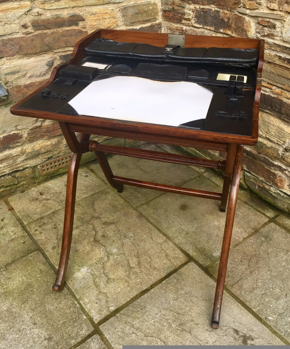 antique 19th century folding campaign writing table desk - Antique 19th Century Folding Campaign Writing Table Desk 436341