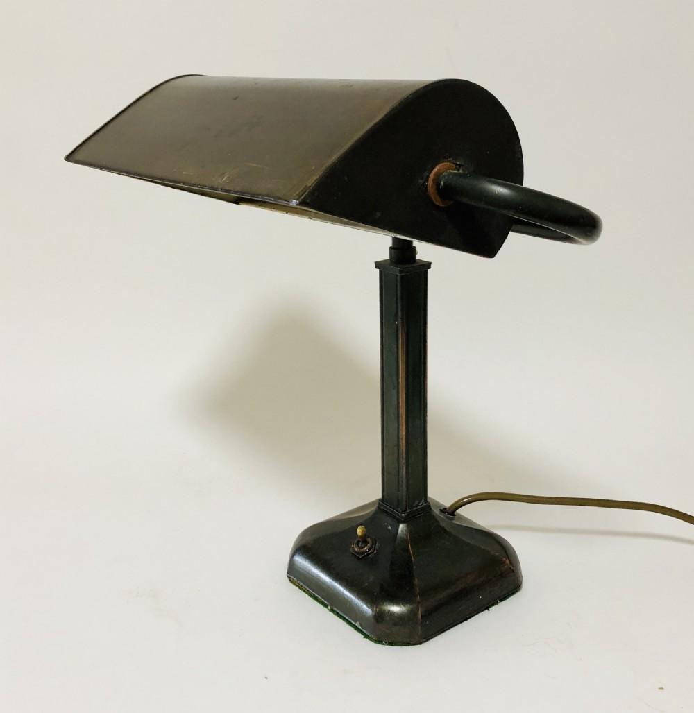 antique art deco bronzed bankers desk lamp