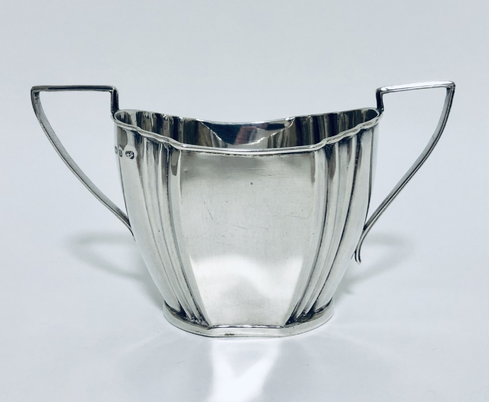 victorian solid sterling silver twin handled sugar bowl