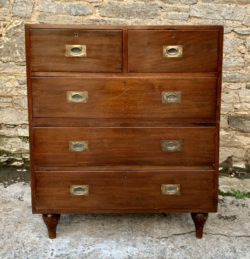 antique military campaign teak chest of drawers
