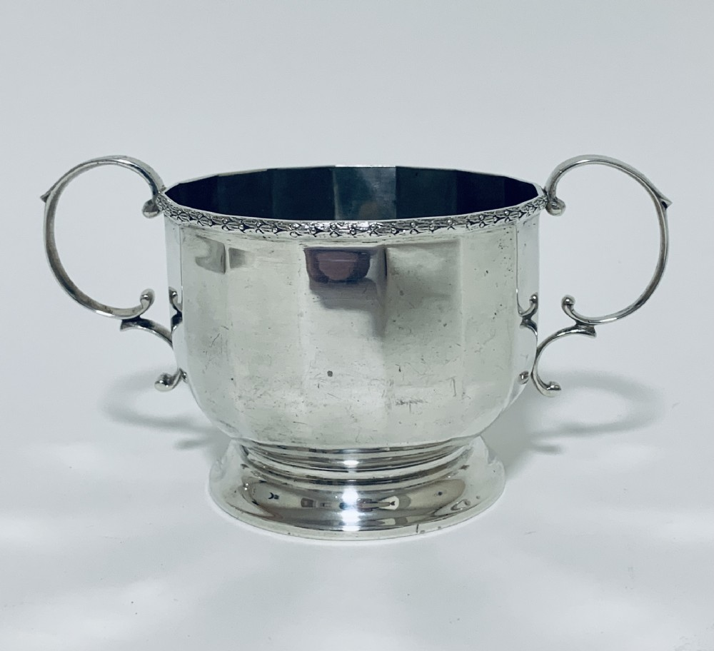 antique solid sterling silver twin handled bowl cup