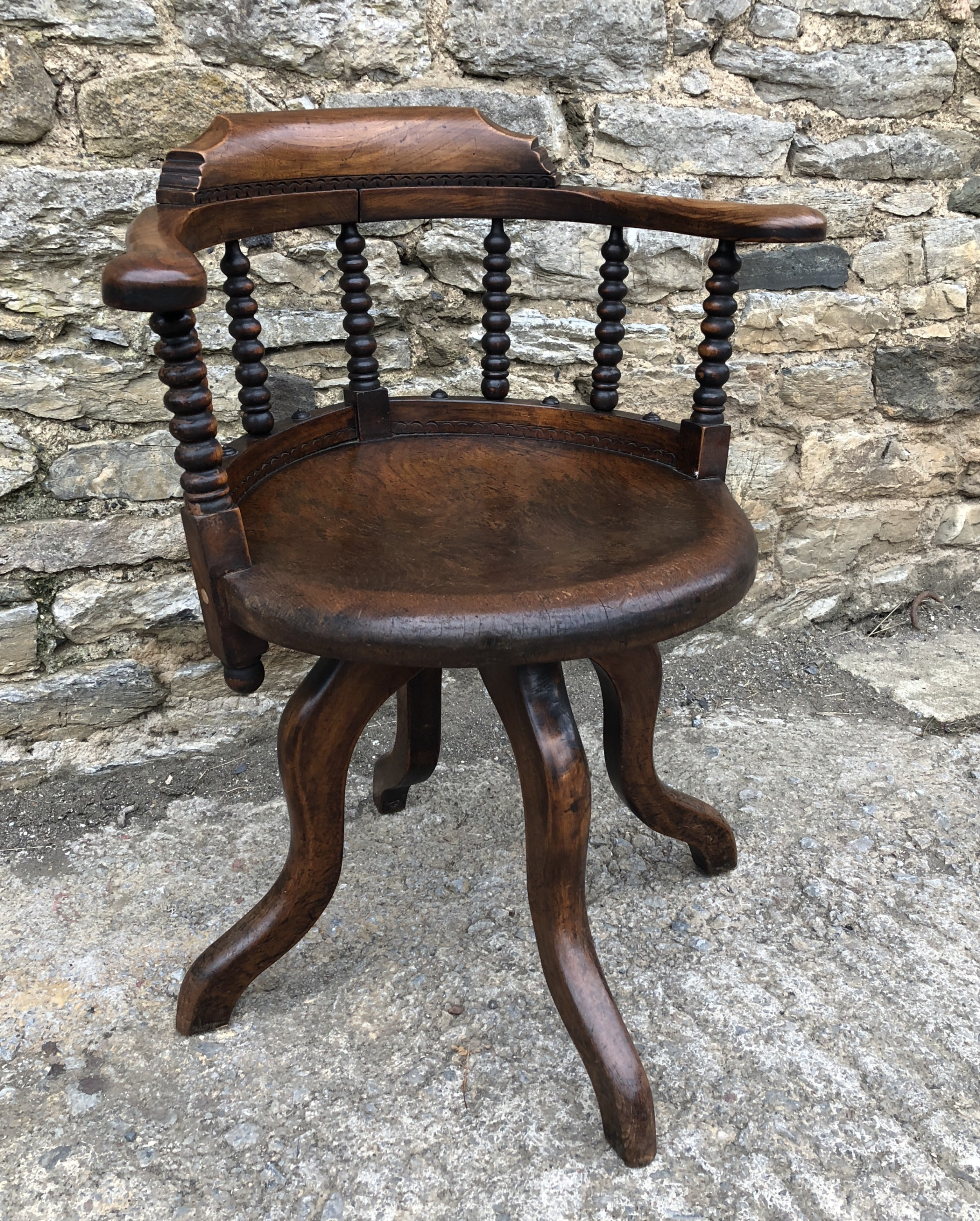antique victorian oak bobbin turned swivel desk chair