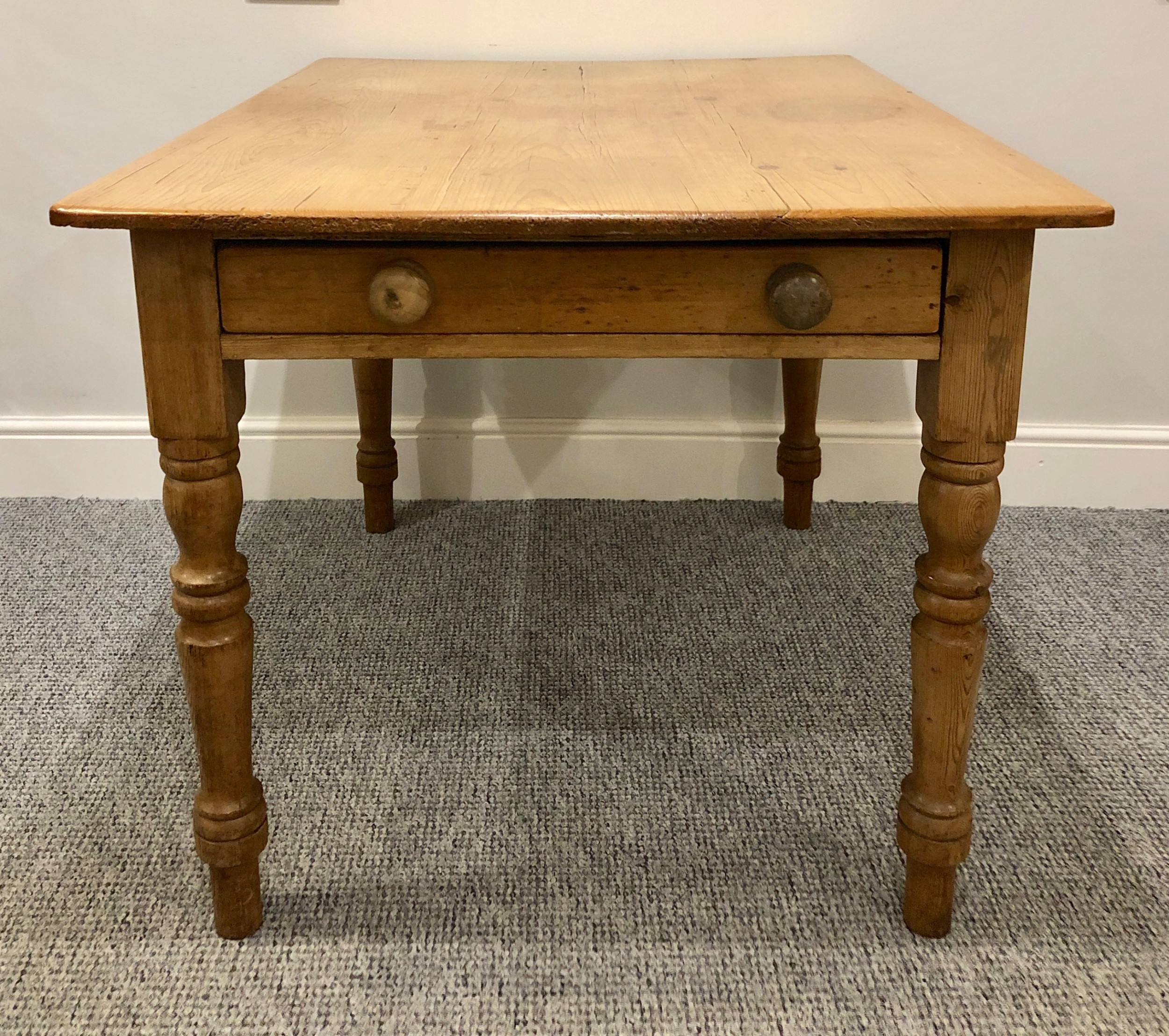 small antique victorian pine farmhouse dining table