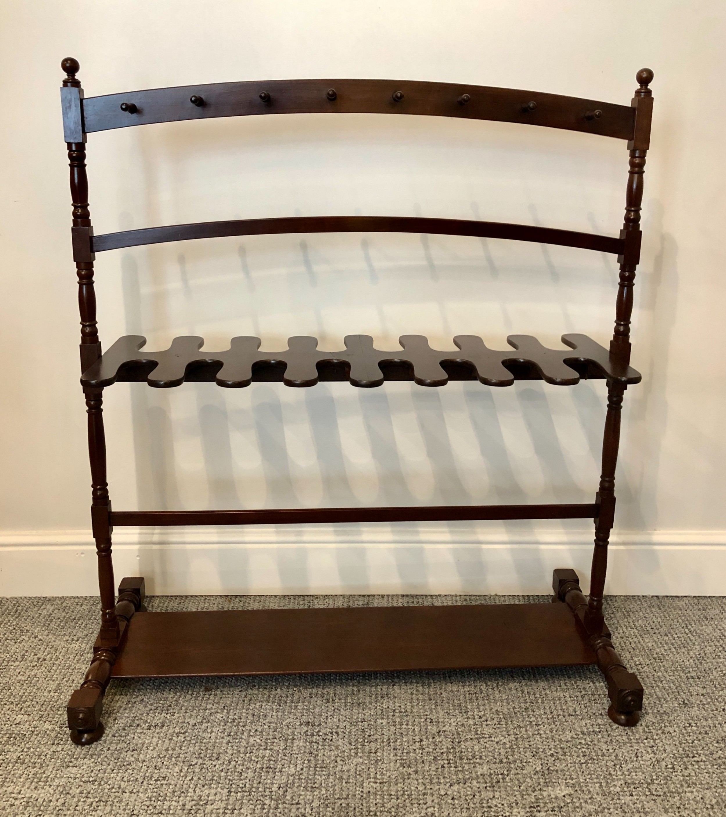 superb large antique regency mahogany whip and boot rack stand