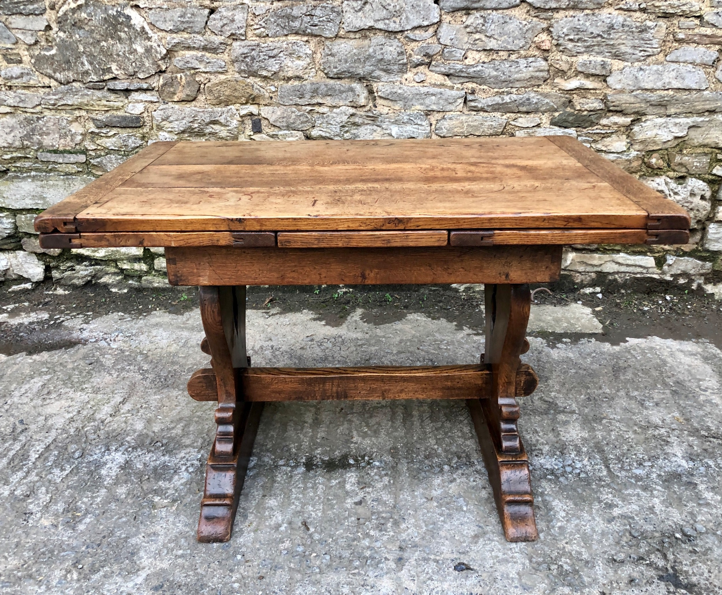 antique oak draw leaf extending refectory table