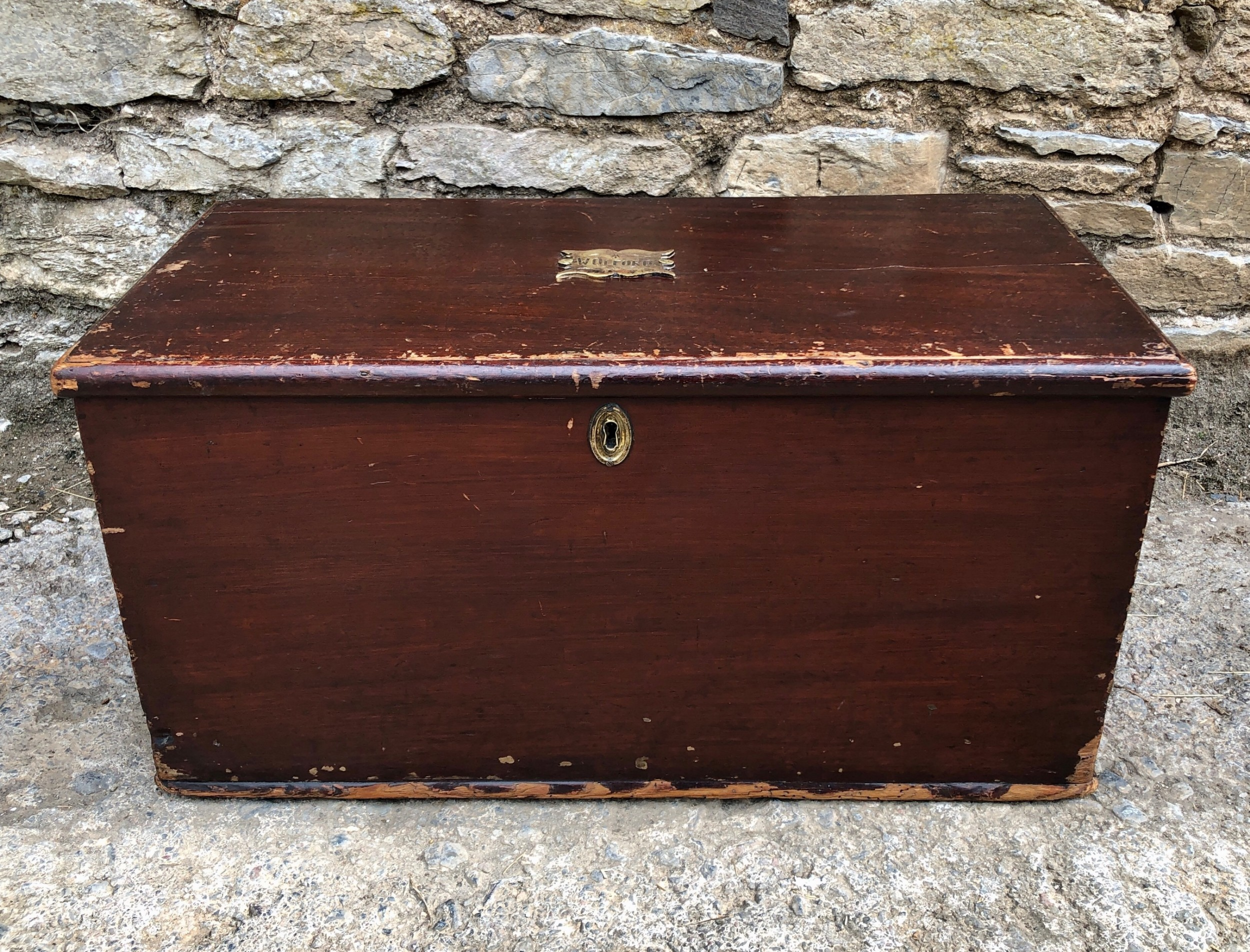 small antique military stained pine trunk