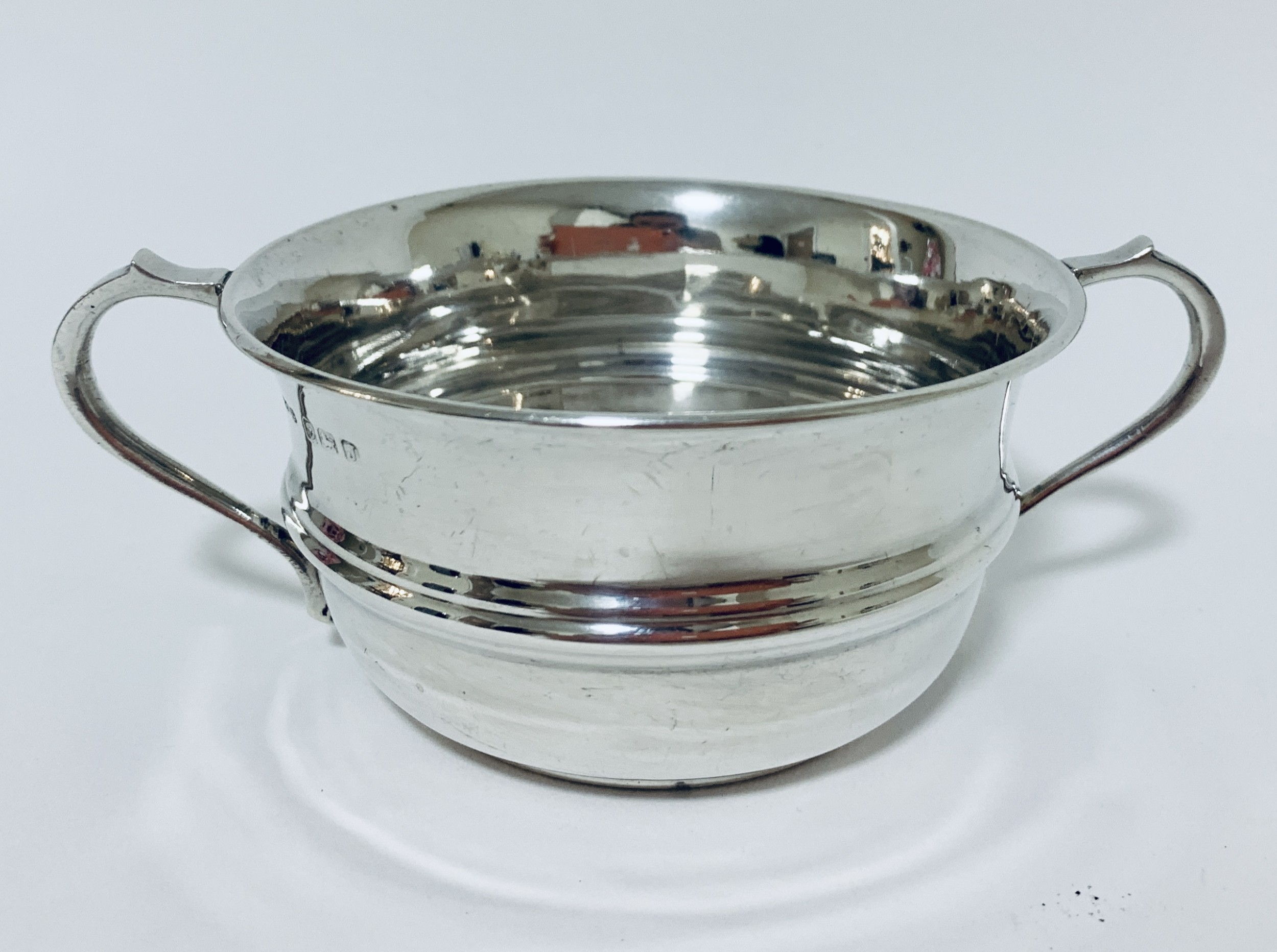antique solid silver twin handled bowl