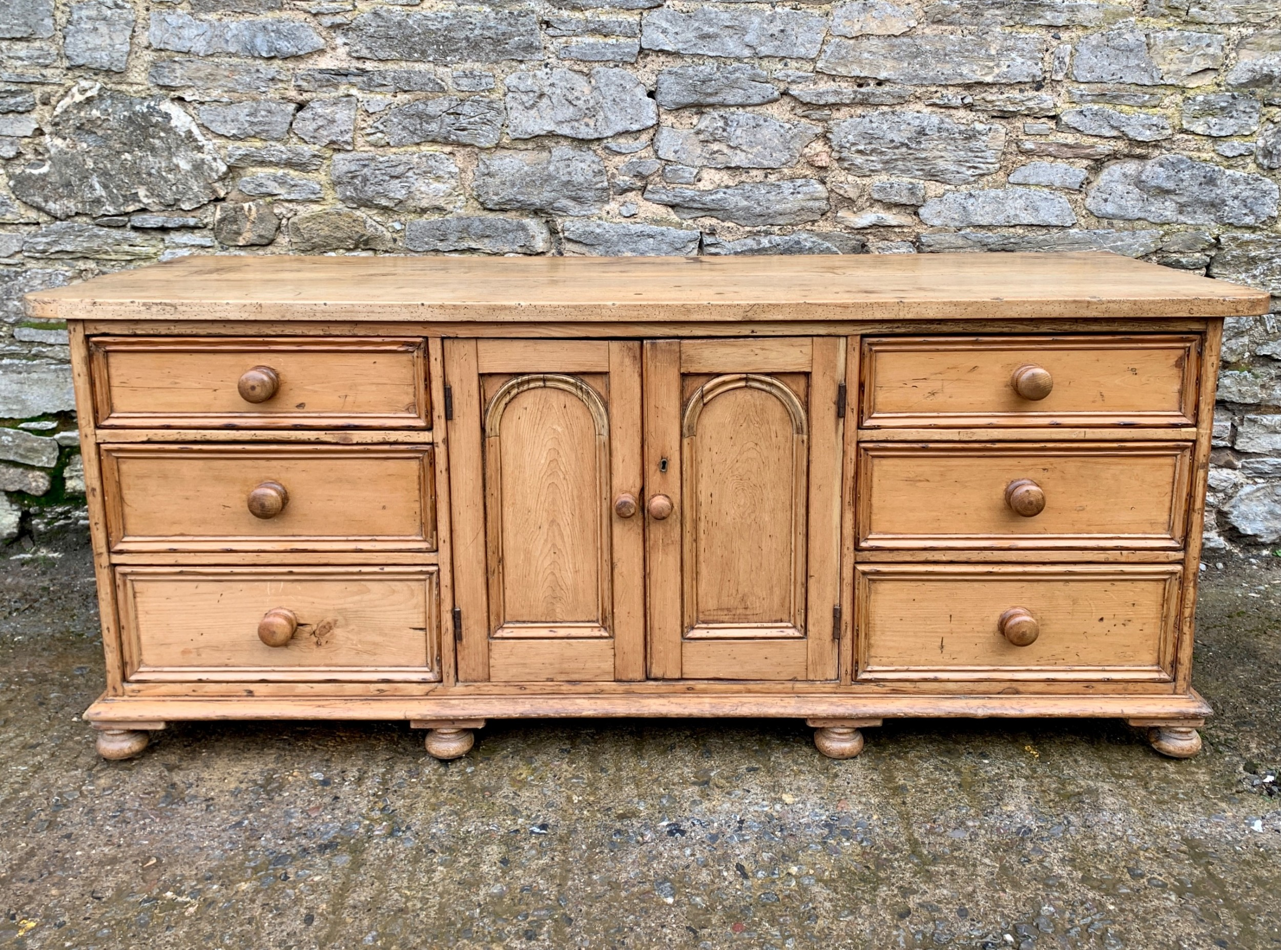 large antique victorian pine and sycamore dresser base