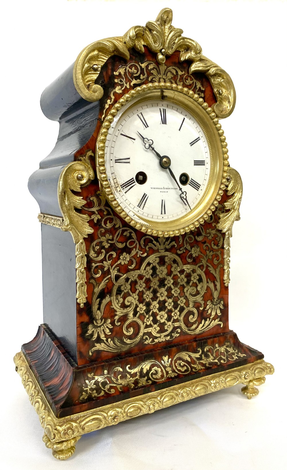 antique red tortoise shell boulle mantel clock by vieyres repingon paris
