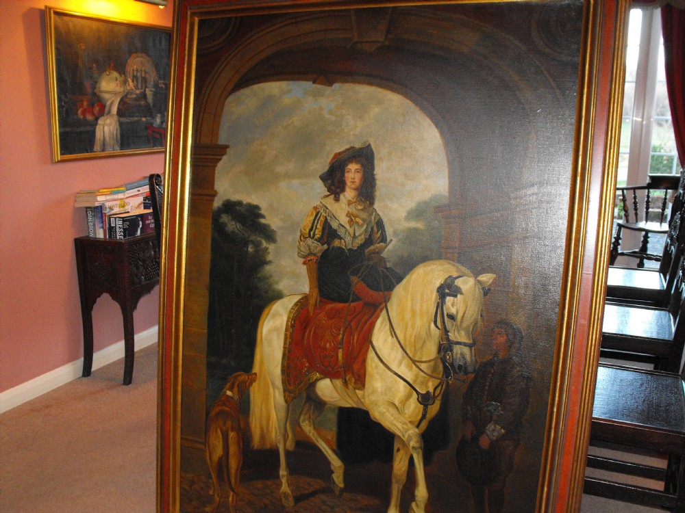 A 19th Century Large Antique Oil Painting For Sale Of A