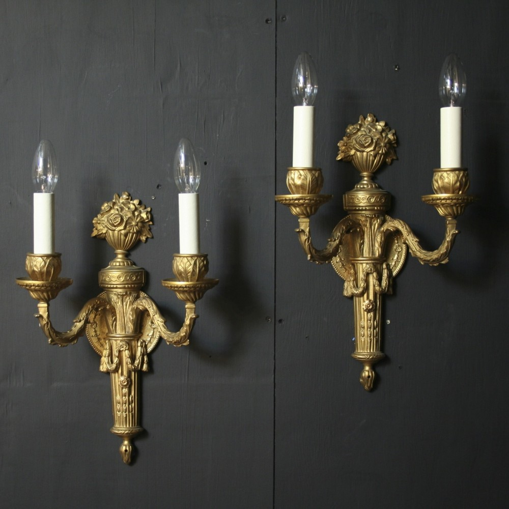 A French Pair Of Twin Arm Antique Wall Lights 249624 Sellingantiques.co.uk