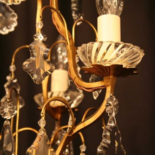french pair of gilded triple light chandeliers - photo angle #2
