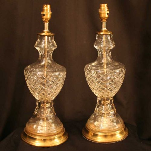 English pair of cut glass table lamps