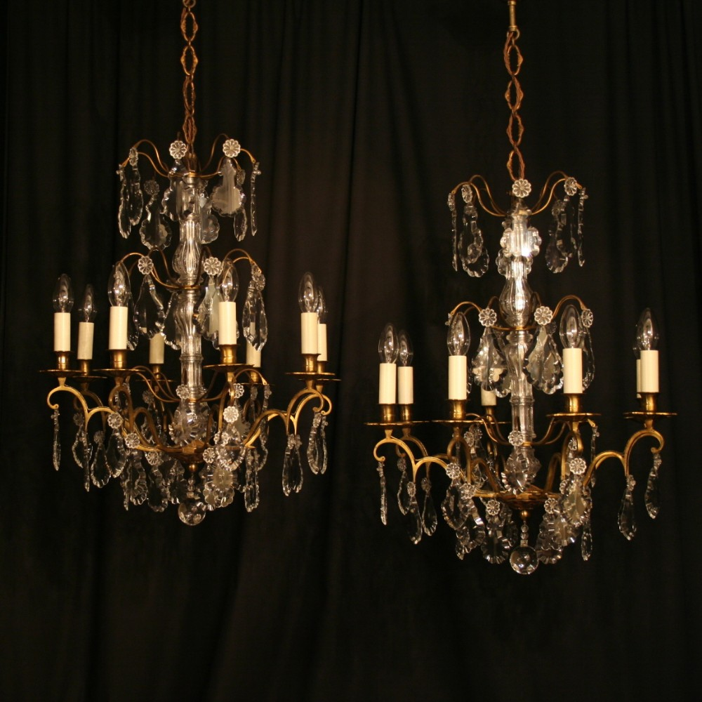 a french pair of gilded 6 light antique chandeliers - A French Pair Of Gilded 6 Light Antique Chandeliers 252940