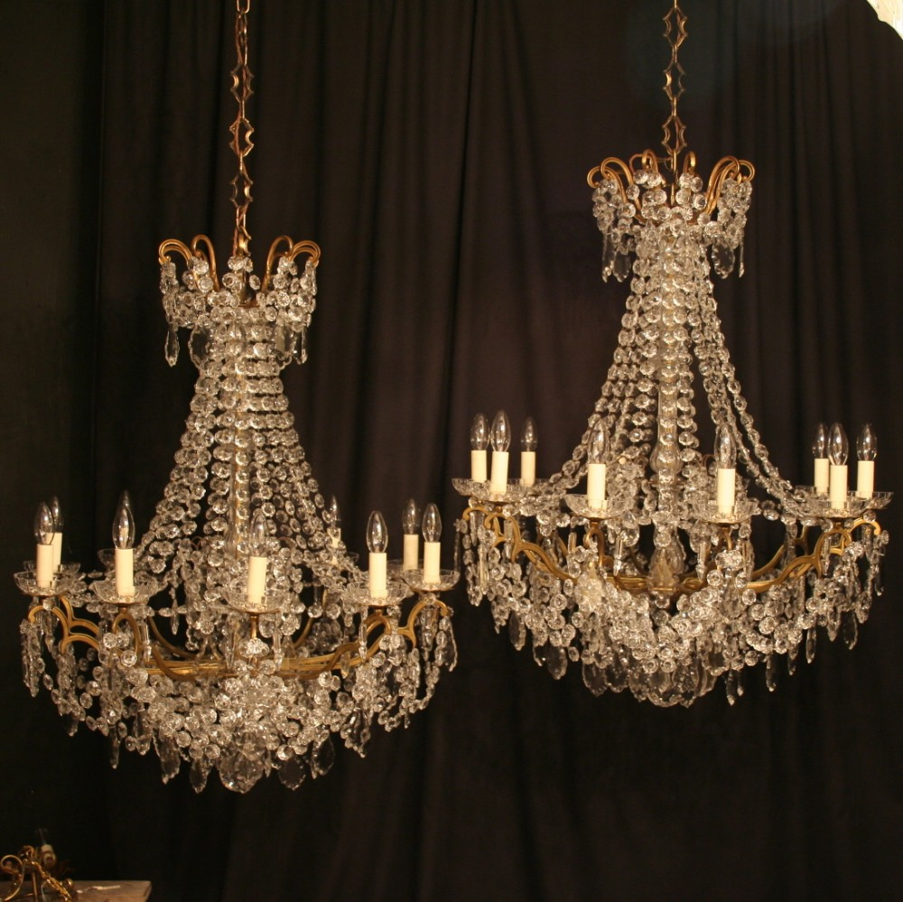 A French Pair Of 10 Light Antique Chandeliers 253187