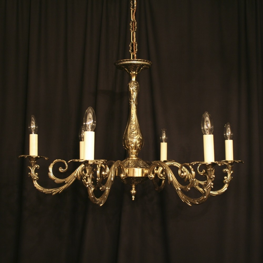 An italian cast brass 6 light antique chandelier 257584 an italian cast brass 6 light antique chandelier arubaitofo Images