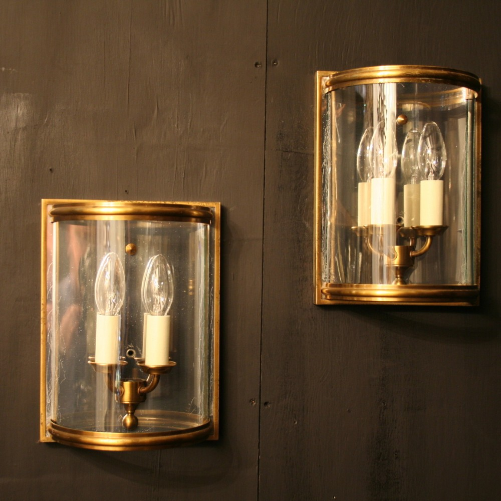 A French Set Of 5 Twin Arm Brass Half Lantern Wall Lights 285296 Sellingantiques.co.uk