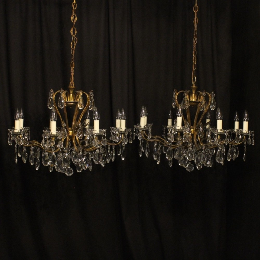 Italian pair of 8 light antique chandeliers 421581 italian pair of 8 light antique chandeliers arubaitofo Images