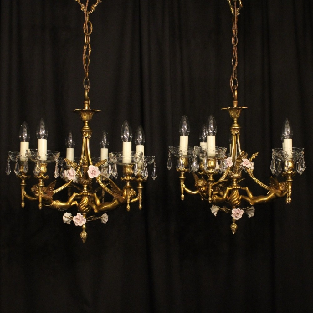 french pair of gilded bronze cherub antique chandeliers - French Pair Of Gilded Bronze Cherub Antique Chandeliers 495944