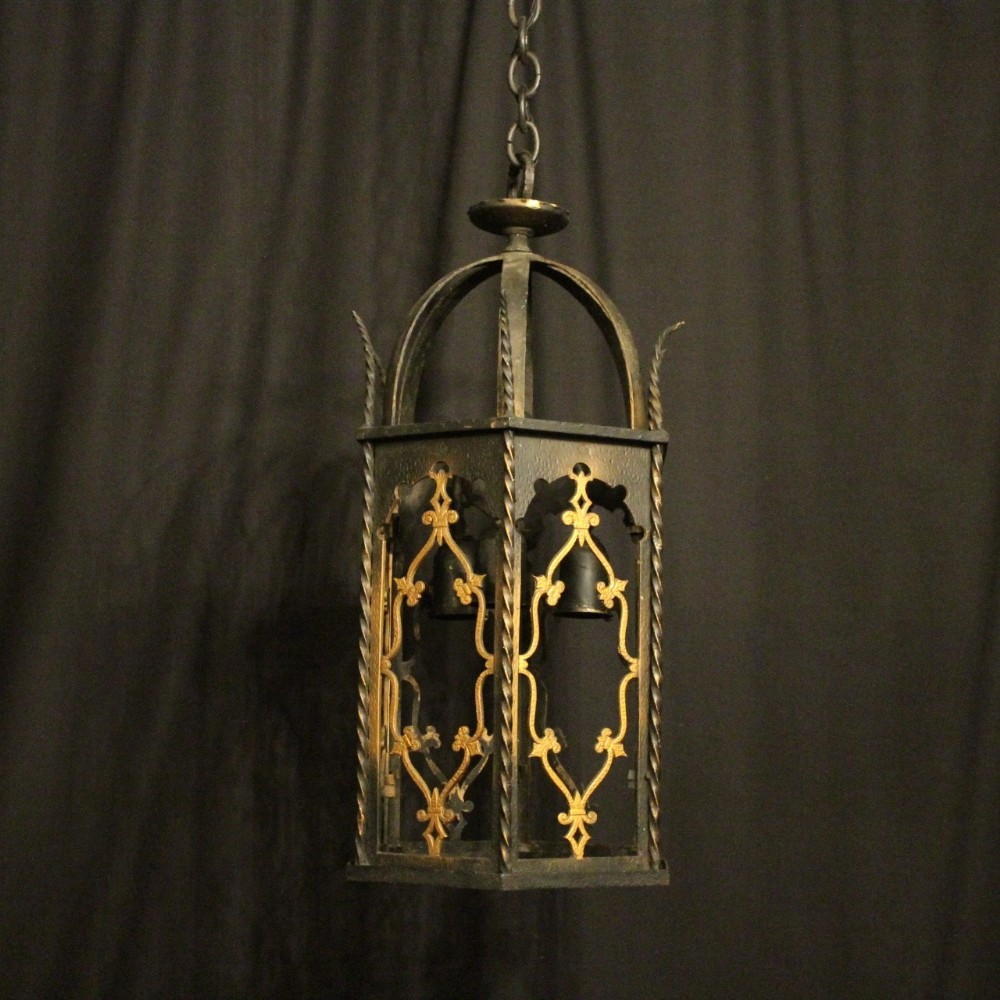 french wrought iron triple light hall lantern