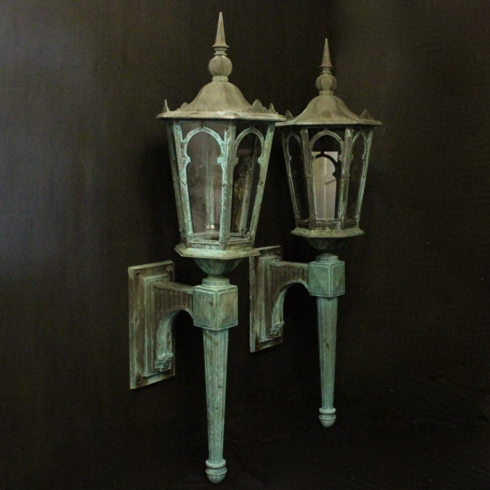 english pair of bronze single light antique wall lanterns
