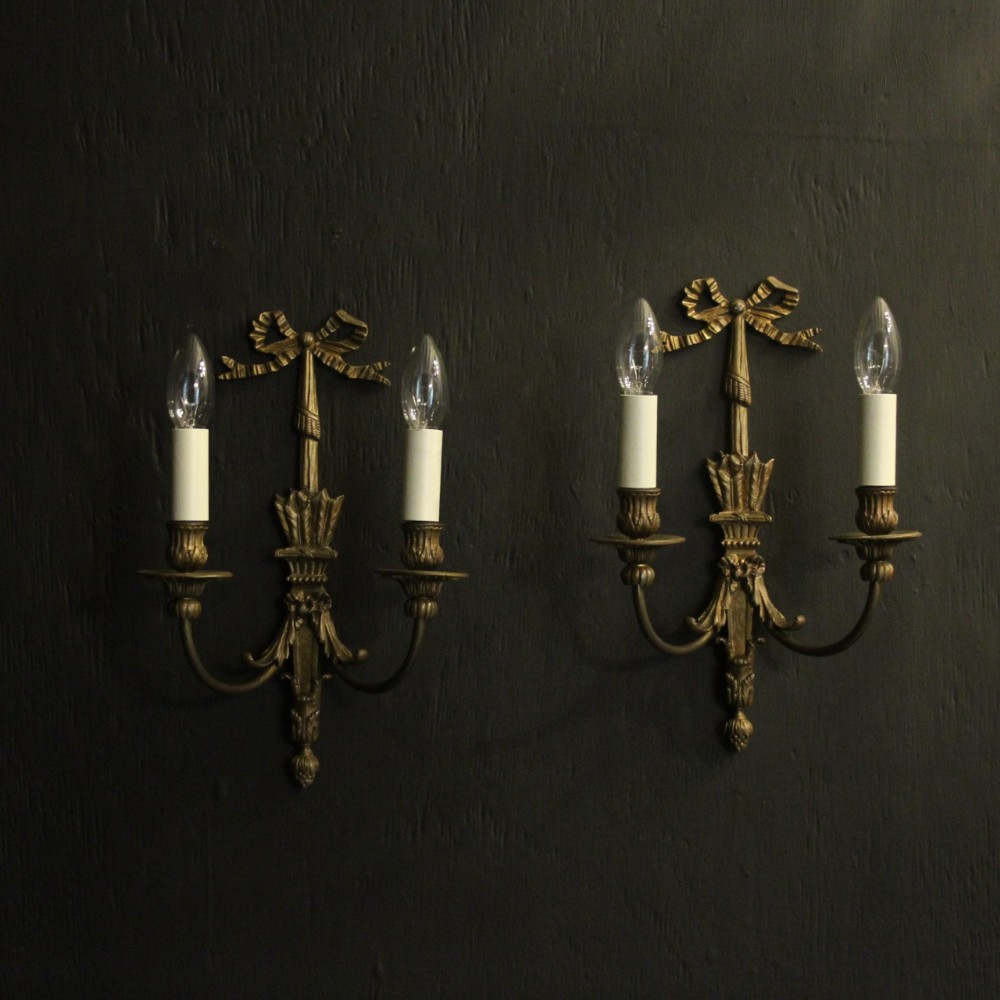 french pair of 19th century bronze antique wall lights